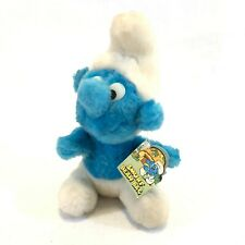 "Vintage 1980 Peyo 7.5"" Blue Smurf Bean Bag Stuffed Plush Toys With Tag"