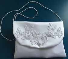 WHITE Satin Floral Lace Pearls Communion Bag Handbag Dolly Flower Girl