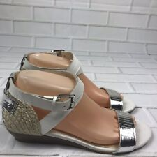 Enzo Angiolini Kahny Women's Wood Wedge Heel Sandals White Silver Size 8.5