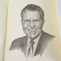 Richard Nixon 1968 Inaugural Lithoprint Portrait Drawing Limited 11X14.5 In. B1