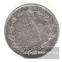 Finnland KM-Nr. : 6 1909 vorzüglich Silber 1909 25 Penniä Gekrönter Doppeladler