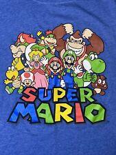 Super Mario World SNES Nintendo Graphic T-Shirt GIRLS XL Blue Kong Yoshi 2012