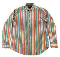 VTG Polo Ralph Lauren Colorful Striped Long Sleeve Button Up Shirt Mens Medium