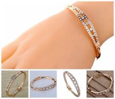 Vogue Rose Gold Slender Hollow Carve Diamante Crystal Charming Bangle Bracelet..
