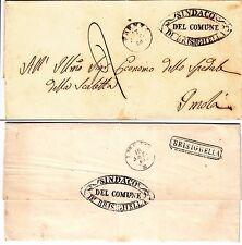 BRISIGHELLA annullo comunale+cartella retro-Lettera per Imola 18.9.1860-Tassata