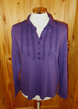 M&S purple stretch frill Steampunk Victoriana long sleeve tunic tshirt top 14 42