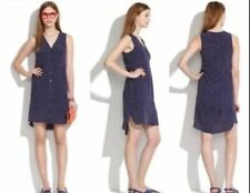 Madewell S Blue white Silk Polka Dot Sleeveless Dress Career Casual