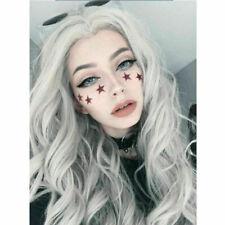 Women Silver White Long Curly Wig Ladies Full Wavy Dress Fancy Cosplay Hair I4X6