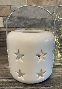 Sleek White Star Ceramic Lantern