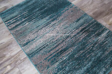 "4x6 (3'3"" x 5'3"") Artistic Modern Contemporary Teal Gray Silver Area Rug"