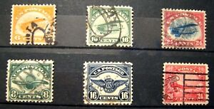 1918-23 US S# C1-6, First Airmail Stamps set of 6v, Used vf selected stamps