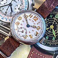 Beautiful Honest 12 and 24 Hour Chapter Ww1 Trench Watch Unsigned Rolex Marconi