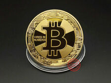 BITCOIN!! Gold Plated Physical Bitcoin in protective acrylic case 2018 Newest