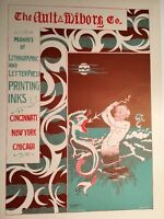 Ault Wiborg Litho Printing INK Poster Sign Original Art Nouveau Neptune Of Sea