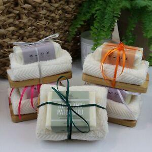 100% Natural Soap, Cloth & Wooden Soap Dish Bath Gift Set