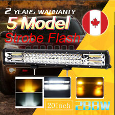 7D 20 inch LED work light 5 modes Flash bar car white amber Driving Strobe 20''