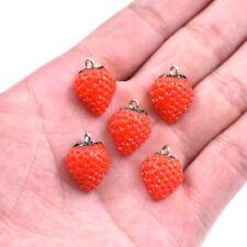 10X Cute Red Strawberry Fruit Charm Pendant For DIY Earrings/Bracelet Craft