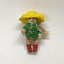 "Artist Dollhouse Miniature Paddington Bear Figurine 1.5"" Green Coat Yellow Hat"