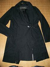 BiBA Woll Mantel Long Blazer Jacke 38 Lochmuster ausgefallen schwarz wie NEU #89