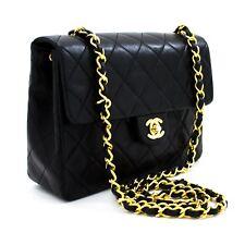 x79 CHANEL Authentic Mini Square Small Chain Shoulder Bag Crossbody Black Purse
