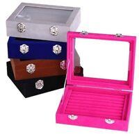 Velvet Glass Jewelry Case Box Holder Storage Earring Display Rings Organizer Bag