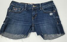 Hollister Mini Jean Shorts Juniors Size 0 (25) Blue Denim Stretch Shorty Cut Off