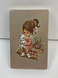 Vtg 1970's SEALED TRUMP Deck of Playing Cards Little Girl & Cat