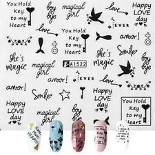 Love Text Manicure Decor Nail Art Sticker Adhesive Tips 3D Transfer Decal