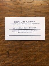 Herman Keiser Personal Businesscard Golf Legend Masters