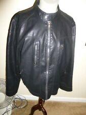 Calvin Klein Faux Leather  Men's Black  Motorcycle Bomber Jacket Sz L Nwots