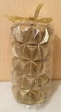 New Ornate Baroque diamond cast/Rockface effect Pillar Candle in Gold Decor/Gift