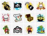 48 X Infantil Pirata Pegatinas con Tatuajes Bolsa de Fiesta Juguetes N51 040