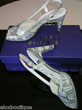 STUART WEITZMAN Snake Skin Leather SHOES Slingbacks Silver Gold Heels 8 NEW BOX