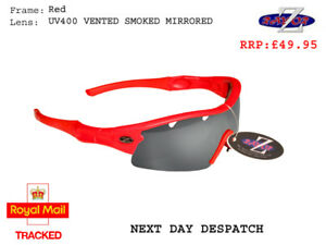 RayZor Red Sports Wrap Sunglasses Uv400 Vented Smoked Mirrored Lens (220