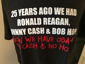 POLITICAL  REAGAN 25 YEARS AGO JOHNNY CASH HOPE OBAMA NO CASH NO HOPE T-SHIRT L