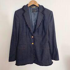 RENA LANGE Wool Jeans Blue Fringe Trim Blazer Jacket Pockets Size 10