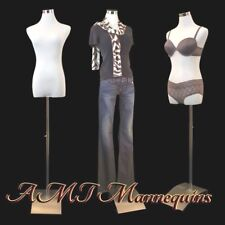 Female display manikin dress form +1 cover+stand, White/black new torso-Fb-51