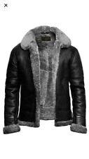 Mens Aviator RAF B3 Pilot Flying Bomber Fur Shearling Sheepskin Leather Jacket