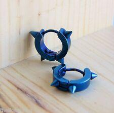 Punk Hip Hop Huggie style Blue Titanium Steel Spike Stud Hoop Earrings