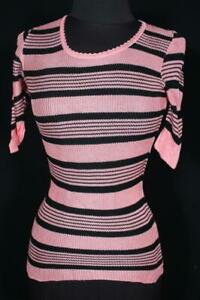 VINTAGE ITALIAN 1970'S PINK & BLACK TIGHT KNIT ACETATE TOP SIZE SMALL