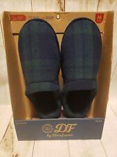 DF by Dearfoams Memory Foam Slipper Green/Blue Plaid Men Sz 9-10