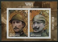 Micronesia 2014 MNH WWI WW1 100th Anniv World War I Kaiser Wilhelm 2v S/S Stamps