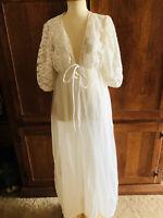 Vintage Sears Carriage Court Sheer Peignoir Set Bridal Nightgown & Robe Lingerie