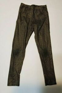 GIRLS BLACK AND GOLD STRIPPED LEGGINGS SIZE 8 BY OLD NAVY