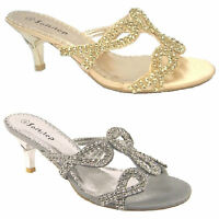 WOMENS PARTY WEDDING BRIDAL LADIES LOW HEEL EVENING SANDALS SILVER SIZE F-450