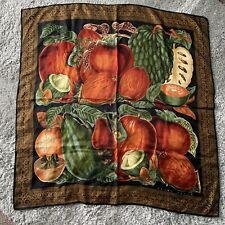 Perry Ellis Vintage Silk Scarf Art To Wear Fruits 39 X 39 Oversized