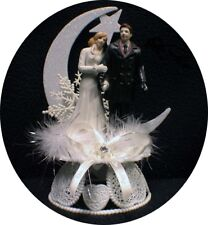 Winter Wonderland Snow Flakes Plus size Christmas Moonlight Wedding Cake Topper