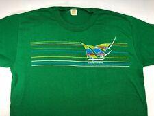 Vintage Mens XL 80s St. Thomas Virgin Islands Windsurfing Beach Green T-Shirt