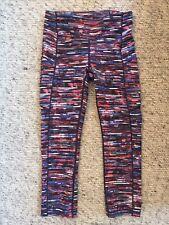 lululemon Cropped Stripe Leggings Blue Pink XS 6 Or Small 8