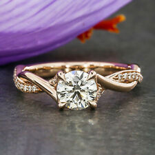 1.3 Carats Round Cut Moissanite Engagement Ring in 9k Solid Rose Gold